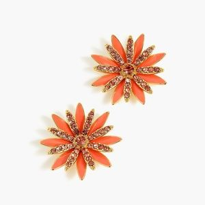 New JCREW Red Coral PAVÉ Daisy Stud Earrings